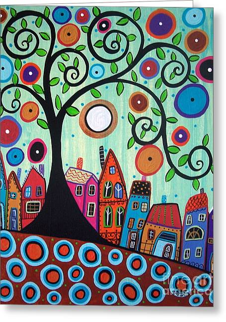 Swirl Tree Greeting Cards - Small Town 1 Greeting Card by Karla Gerard