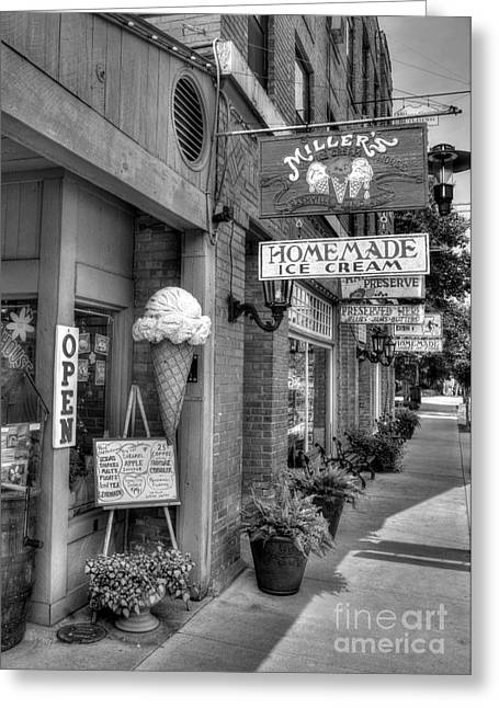 Small Towns Greeting Cards - Small Town America 2 BW Greeting Card by Mel Steinhauer