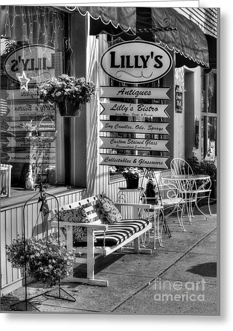 Main Street Greeting Cards - Small Town America 4 BW Greeting Card by Mel Steinhauer