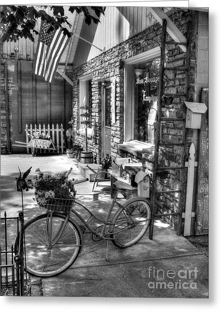 Indiana Art Greeting Cards - Small Town America BW Greeting Card by Mel Steinhauer