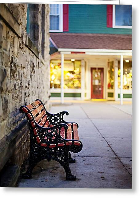 Empty Bench Greeting Cards - Small Town Bench Greeting Card by April Reppucci