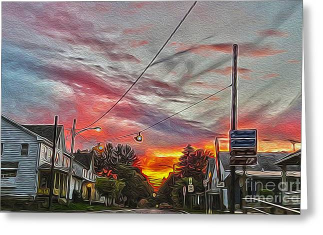 Historic Home Greeting Cards - Small Town Bug Sunset Greeting Card by Dawn Gari