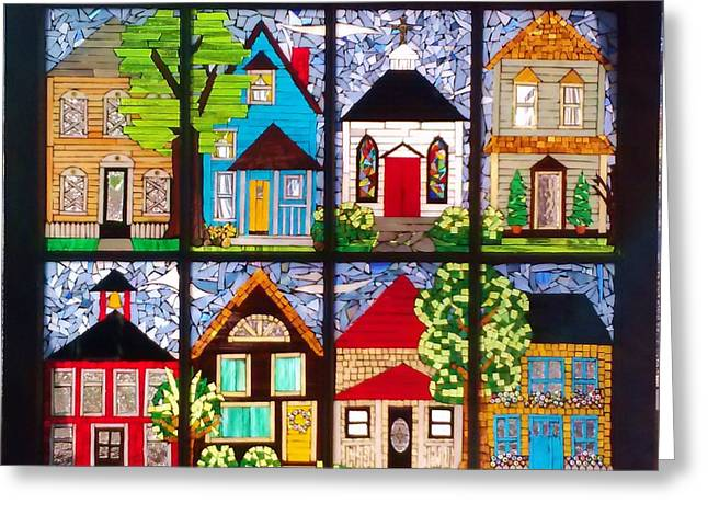 Contemporary Glass Art Greeting Cards - Small Town Greeting Card by Liz Shepard