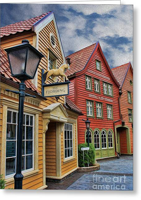 Small Town Scene Greeting Cards - Small Town Merchants  Greeting Card by Lee Dos Santos