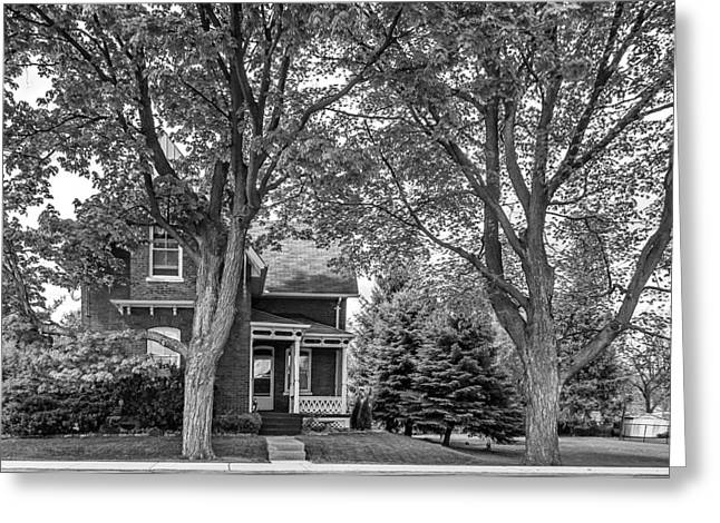 Small Town Prints Greeting Cards - Small Town Ontario monochrome Greeting Card by Steve Harrington