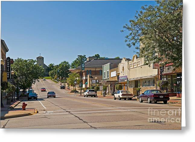 Crosswalk Greeting Cards - Small Town Street Greeting Card by Richard and Ellen Thane