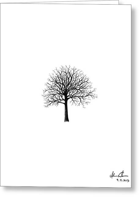 Tree Roots Drawings Greeting Cards - Small Tree Silhouette Greeting Card by Adam Vereecke