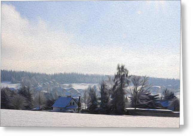Peaceful Scenery Greeting Cards - Small Village Greeting Card by Aged Pixel