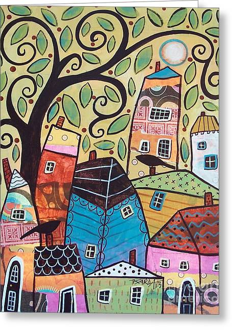 Landscape Mixed Media Greeting Cards - Small Village Greeting Card by Karla Gerard