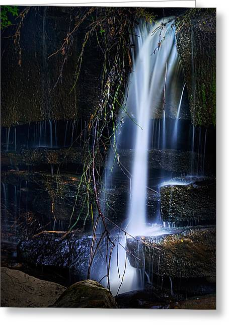 Falling Water Creek Greeting Cards - Small Waterfall Greeting Card by Tom Mc Nemar