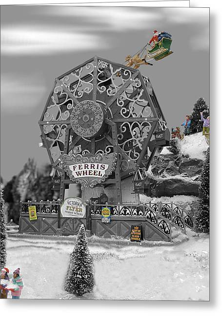 Rudolph Greeting Cards - Small World - Flying over the Wheel Greeting Card by Richard Reeve