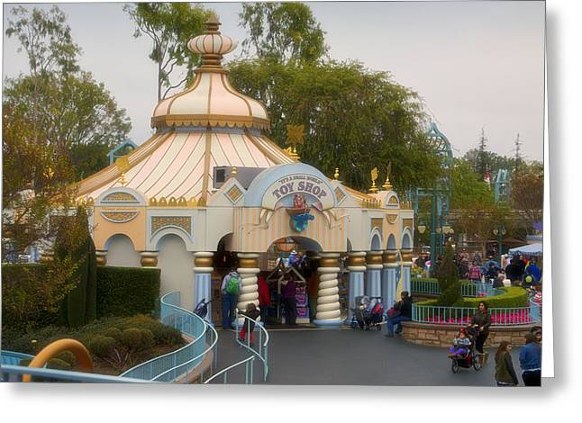 Toy Shop Greeting Cards - Small World Toy Shop Fantasyland Disneyland Greeting Card by Thomas Woolworth