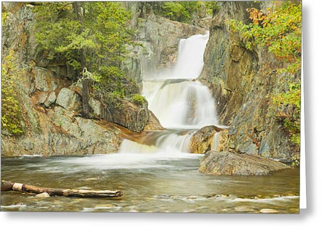 Falling Water Greeting Cards - Smalls Falls In Western Maine Panorama Greeting Card by Keith Webber Jr