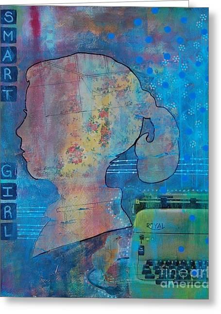 Typewriter Mixed Media Greeting Cards - Smart Girl Greeting Card by Brooke Adamson