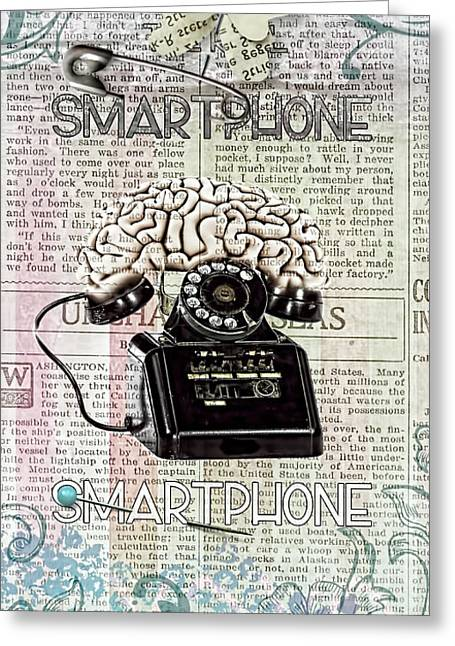 Retro-collage Greeting Cards - Smartphone Greeting Card by Mo T