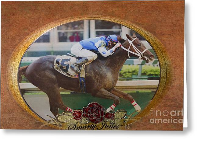 Betty Larue Greeting Cards - Smarty Jones Greeting Card by Betty LaRue