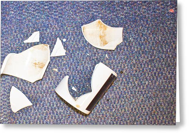 Workplace Photographs Greeting Cards - Smashed cup Greeting Card by Tom Gowanlock