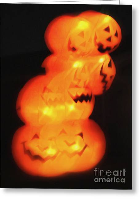 Smashing Pumpkin Stack Greeting Card by Gregory Dyer