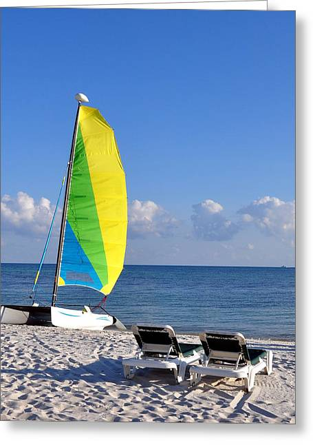 Sailboats In Water Greeting Cards - Smathers Beach Greeting Card by Charles Wagner Jr