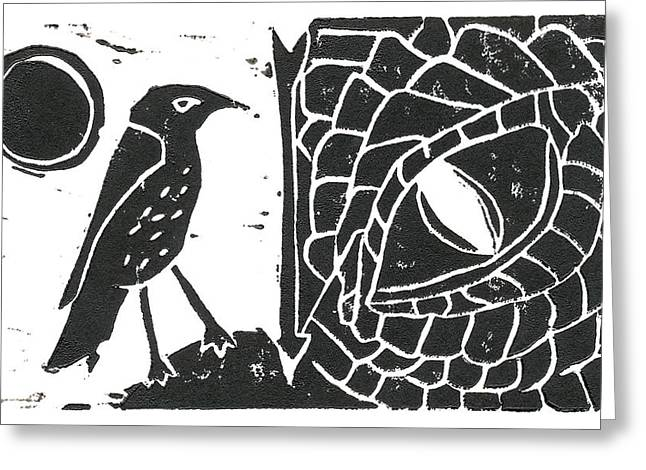 Lino Cut Reliefs Greeting Cards - Smaug and the Thrush Greeting Card by Lynn-Marie Gildersleeve
