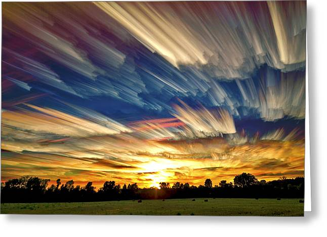 Colorful Trees Digital Greeting Cards - Smeared Sky Sunset Greeting Card by Matt Molloy