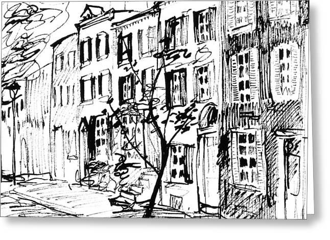 Phillies Drawings Greeting Cards - Smedley Street Greeting Card by Deborah Dendler