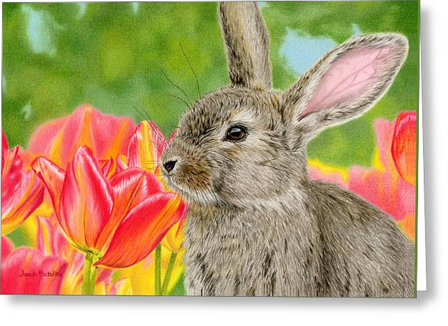 Hare Greeting Cards - Smell The Flowers Greeting Card by Sarah Batalka