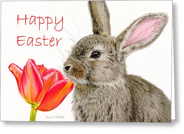 Baby Animal Drawings Greeting Cards - Smells Like Spring- Happy Easter Greeting Card by Sarah Batalka