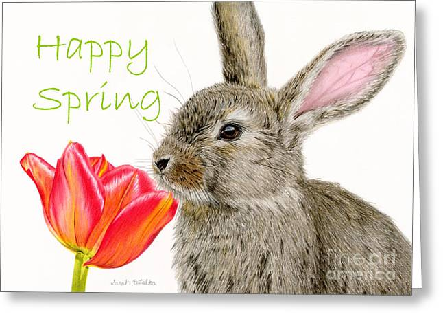Baby Animal Drawings Greeting Cards - Smells Like Spring- Happy Spring Greeting Card by Sarah Batalka