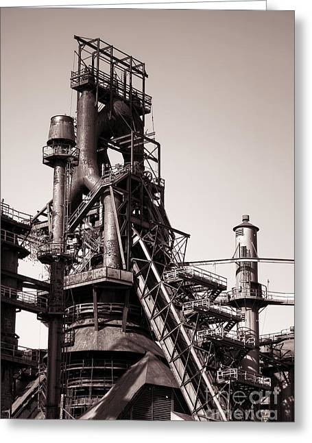 Smelter Greeting Cards - Smelting Furnace Greeting Card by Olivier Le Queinec
