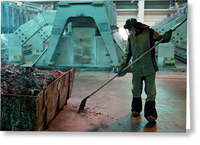 Automated Greeting Cards - Smelting hall of aluminium plant Greeting Card by Science Photo Library