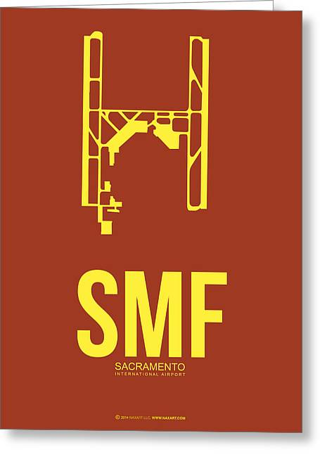 Town Mixed Media Greeting Cards - SMF Sacramento Airport Poster 1 Greeting Card by Naxart Studio