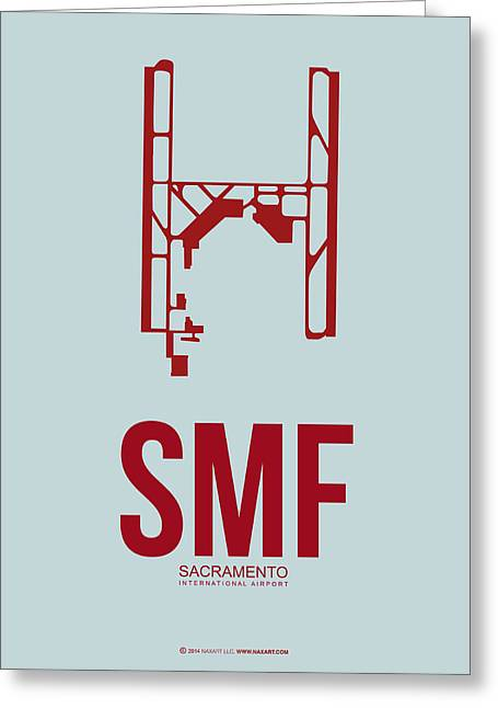 Town Mixed Media Greeting Cards - SMF Sacramento Airport Poster 2 Greeting Card by Naxart Studio