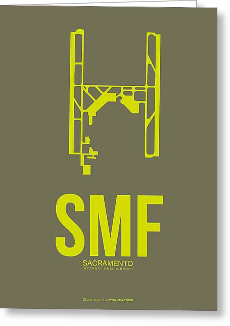 Tourists Digital Art Greeting Cards - SMF Sacramento Airport Poster 3 Greeting Card by Naxart Studio