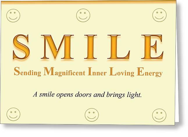 Top Selling Digital Art Greeting Cards - SMILE Buseyism by Gary Busey - Original Typography Artwork Greeting Card by Buseyisms Inc Gary Busey