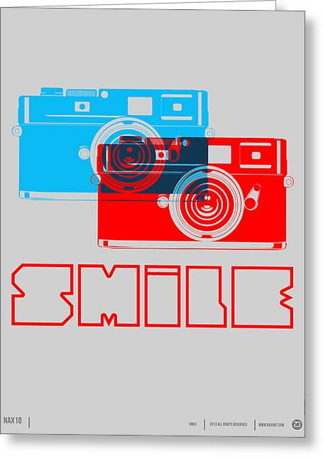 Humor Greeting Cards - Smile Camera Poster Greeting Card by Naxart Studio