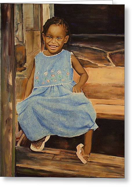 Kitchener Paintings Greeting Cards - Smile from Honduras Greeting Card by Sheila Diemert