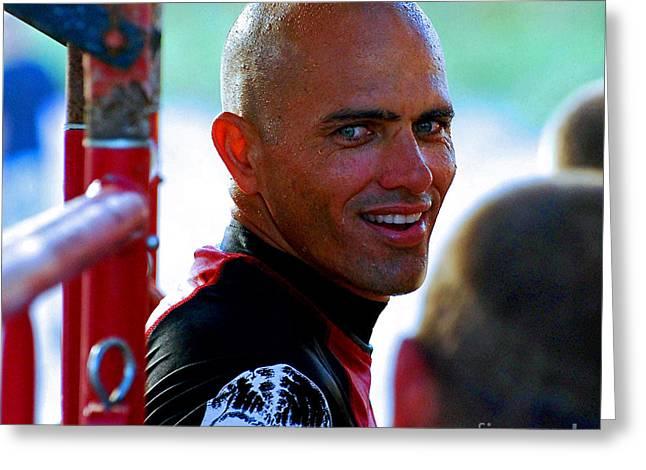 Kelly Slater Greeting Cards - Smile from Mr.Slater  Greeting Card by Davids Digits