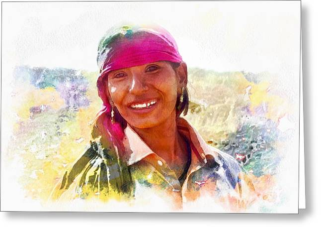 Farmers Field Greeting Cards - Smile Harvest India Rajasthan 3a Greeting Card by Sue Jacobi