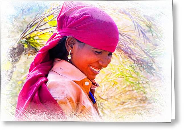 Farmers Field Greeting Cards - Smile Harvest India Rajasthan Greeting Card by Sue Jacobi
