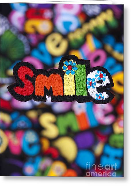 Embroidery Greeting Cards - Smile Greeting Card by Tim Gainey