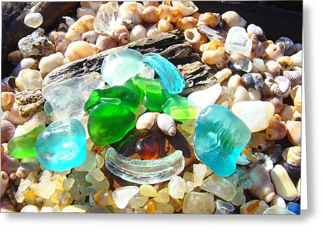 Agate Beach Greeting Cards - Smiley Face Beach Seaglass Blue Green art prints Greeting Card by Baslee Troutman