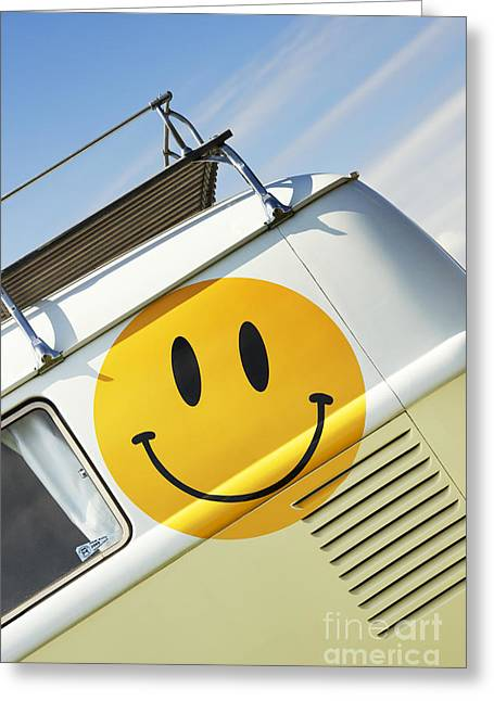 Vdub Greeting Cards - Smiley Face VW Campervan Greeting Card by Tim Gainey