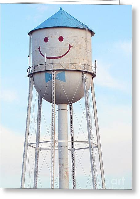 Steve Augustin Greeting Cards - Smiley the Water Tower Greeting Card by Steve Augustin