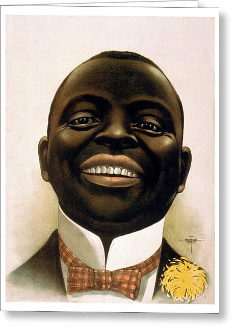 African American Drawings Greeting Cards - Smiling African American circa 1900 Greeting Card by Aged Pixel