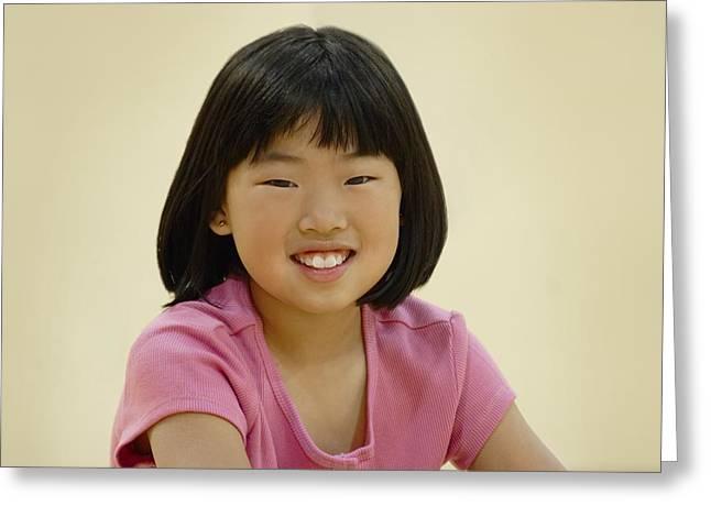 Smiling Asian Girl Greeting Card by Hanson Ng
