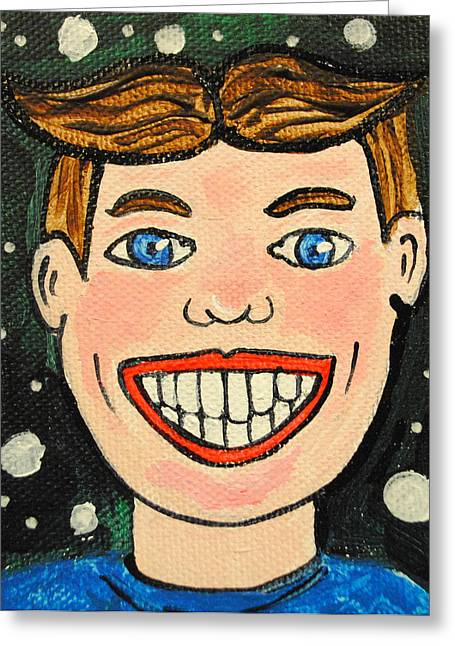 Asbury Park Paintings Greeting Cards - Smiling Boy Greeting Card by Patricia Arroyo