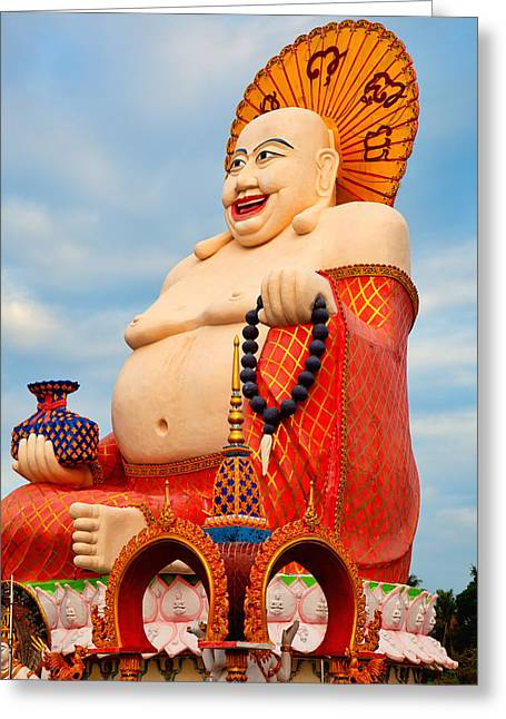 Sacred Greeting Cards - smiling Buddha Greeting Card by Adrian Evans