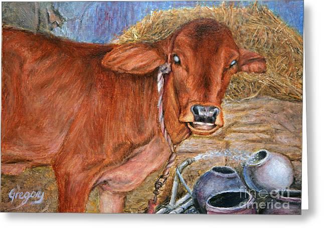 Kinkade Greeting Cards - Smiling Calf Greeting Card by Greg  Alexander