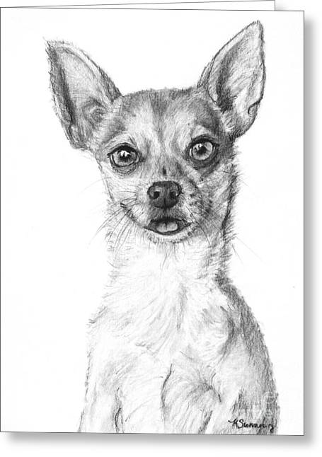 Chihuahua Artwork Greeting Cards - Smiling Chihuahua in Charcoal Greeting Card by Kate Sumners